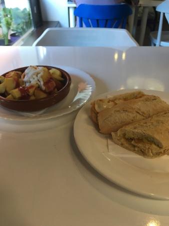 patatas bravas & grilled chicken sandwich